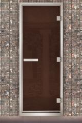 Алюминиевые двери для хамама бронза