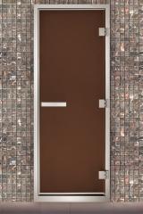 Алюминиевые двери для хамама матовая бронза
